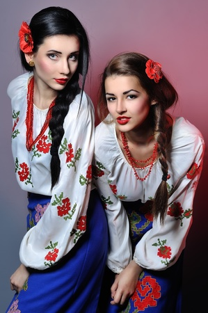 portrait of beautiful young Ukrainian women in the studio photo