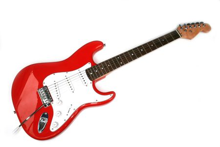 Red Electric Guitar With Six Strings isolated