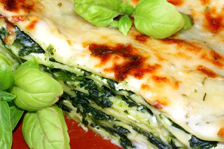 Vegetarian lasagna with ricotta cheese spinach filling and basil  Stock Photo - 2947900