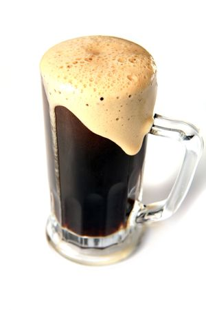 sapid: Black beer mug isolated on white Stock Photo