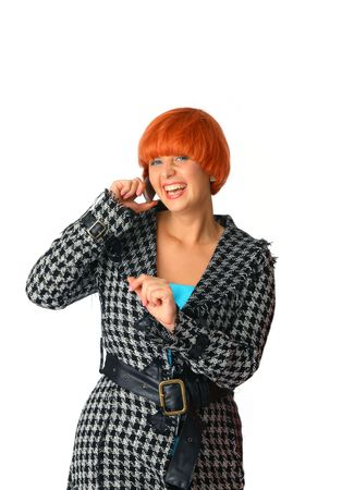 happy young woman calling by cellular phone. photo