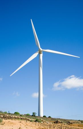 eolic: eolic generator in a wind farm Stock Photo