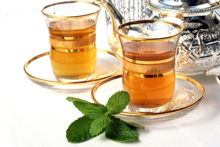 Traditional Moroccan mint tea photo