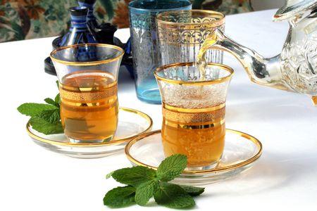 Traditional Moroccan mint tea Stock Photo