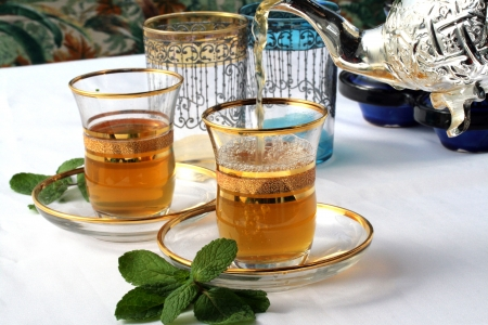 moroccan culture: Traditional Moroccan mint tea Stock Photo