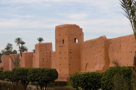 ramparts: Wall  around old city  in Marrakech Stock Photo