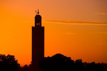 Silhouette Koutoubia Mosque  by the sunset Stock Photo