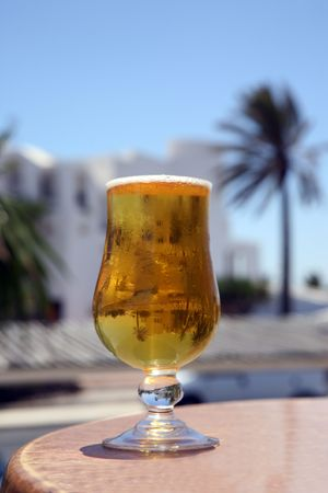Cold Beer with reflection palm and blue sky Stock Photo - 4172128