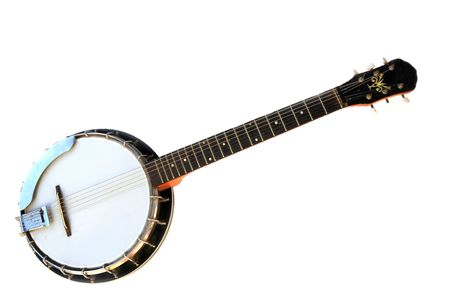 Musical instrument banjo isolated on a white background.  Stock Photo