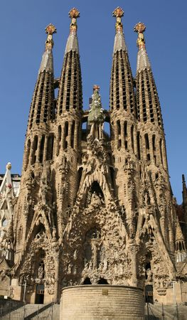 Detailed view of Sagrada Familia; great work of Antonio Gaudi