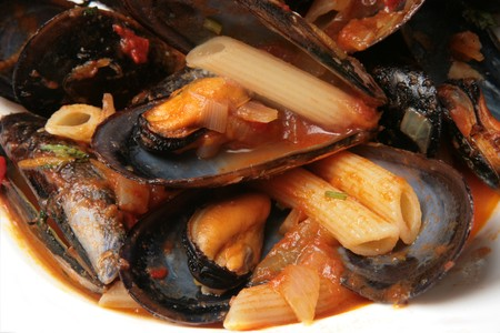 Mussel soup with pasta Stock Photo - 4544595
