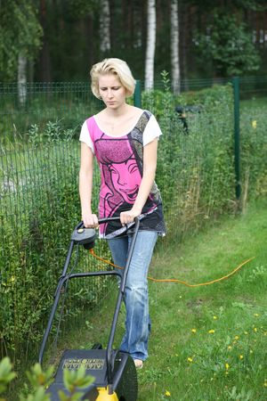 grass cutting: Mowing Lawn