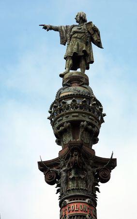 ramblas: Statue of Christopher Columbus in Barcelona Stock Photo