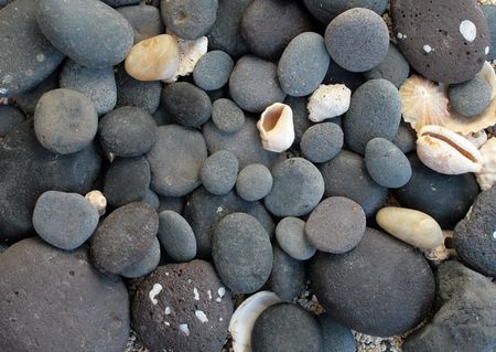 peeble: Abstract background with round peeble stones and seashells