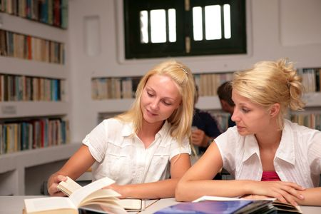 students studying in library photo