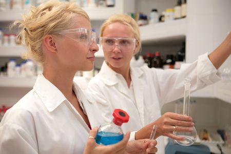 Students working chemistry laboratory Stock Photo