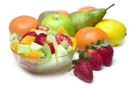 Verse fruit salade in de kom  Stockfoto