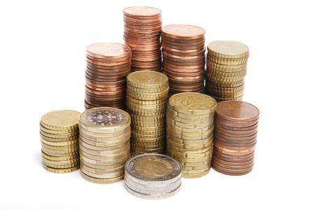 Münzen isoliert auf weißem Hintergrund