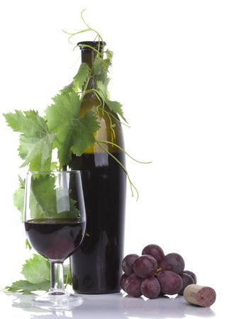 thumbnail: Click on thumbnail to zoom in.  Click on thumbnail to zoom in. Glass red wine and bottle with grape�s leafs Stock Photo