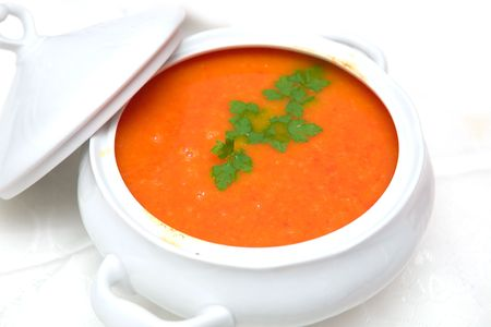 tomato soup in white bowl  photo