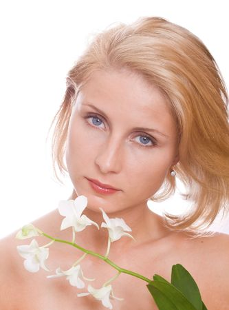 beautiful woman with white flower  photo