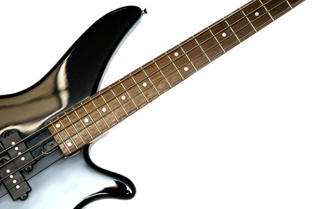 Fragment of black  Bass Electric Guitar With Four Strings, isolated