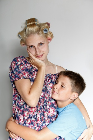 curlers: mum and son
