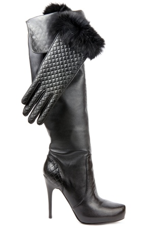 black boot and gloves photo