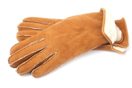 pair of winter sheepskin gloves with fur photo