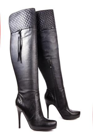Black high heel women boots photo