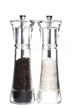 pepper grinder: Glass salt and pepper  Stock Photo