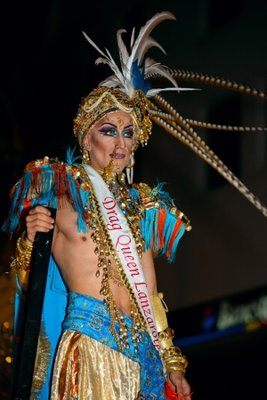 LANZAROTE, SPAIN - FEB 20: Drag Queen in costumes at the Grand Carnival Parade on February 20, 2012 in Arrecife, Lanzarote, Canaries Islands, Spain.
