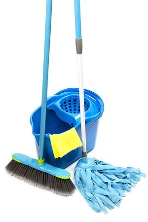 bucket with mop,  brush and gloves photo