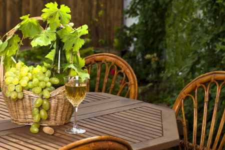 White wine bottle and bunch of grapes on basket, glass with in summer garden photo