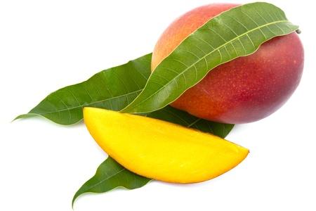 mango leaf: fresh mango fruit with cut and real mango leafs isolated on white background