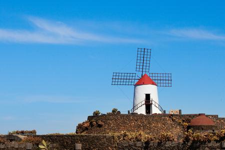 Windmill in cactus garden in Lanzarote, Spain