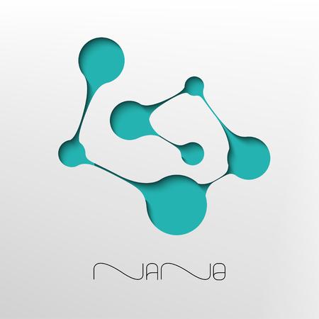 Abstract molecule symbol. Nano technology flat design