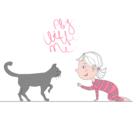 Illustration with girl playing with kitten text play with me