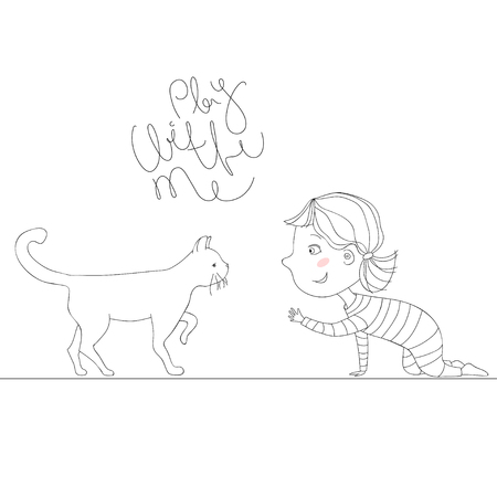Illustration with girl playing with kitten. text play with me Illustration