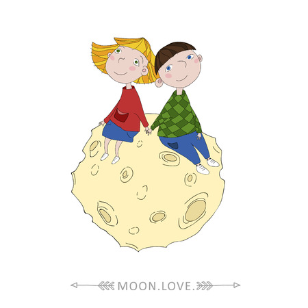 Boy and girl sitting on the moon vector illustration. Vector detailed graphic illustration. Lovely couple of kids Illustration