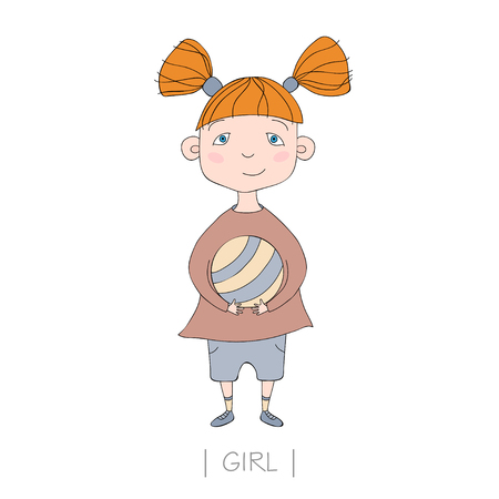 Illustration with cute girl holding a ball. Vector nice little girl Illustration