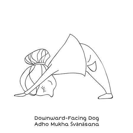 Cute little girl is practicing yoga. Kid in downward-facing dog pose. Cartoon Vector illustration Stock Vector - 94105733
