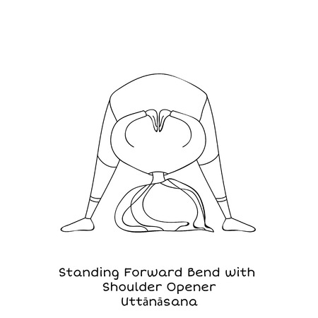 Cute little girl is practicing yoga. Kid in Standing forward bend with shoulder open pose. Cartoon Vector illustration