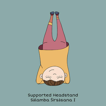 Cute little girl is practicing yoga. Kid in Supported headstand pose. Cartoon Vector illustration