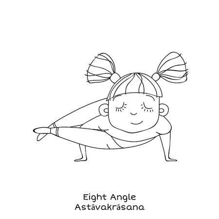 Cute little girl is practicing yoga. Kid in Eight angle pose. Cartoon Vector illustration. yoga for kids Illustration