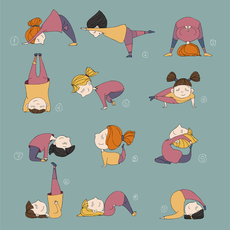 illustration of girls doing yoga. kids in yoga postures