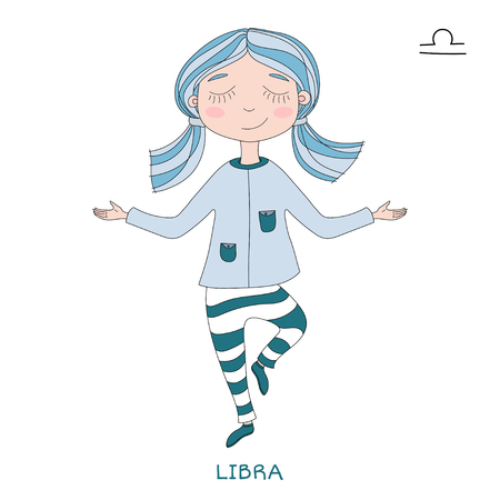 funny horoscope for girls. cute girl in the form of zodiac sign. outline drawing in cartoon style. Libra
