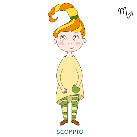 funny horoscope for girls. cute girl in the form of zodiac sign. outline drawing in cartoon style.Scorpio