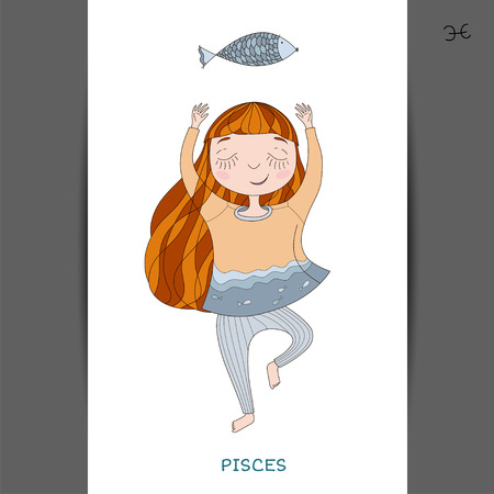 funny horoscope for girls. cute girl in the form of zodiac sign. outline drawing in cartoon style.Pisces