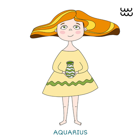 funny horoscope for girls. cute girl in the form of zodiac sign. outline drawing in cartoon style. Aquarius Vector illustration. Çizim